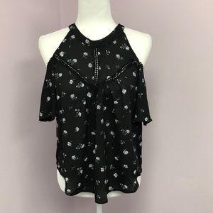 Sienna Sky XS Could Shoulder Black Floral Top